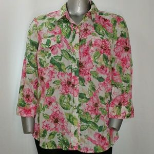 Karen Scott 3/4 Sleeve Floral Cotton Shirt, 2X